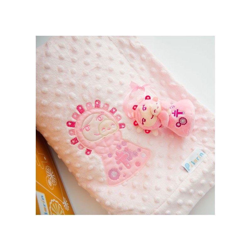 Manta topitos rosa